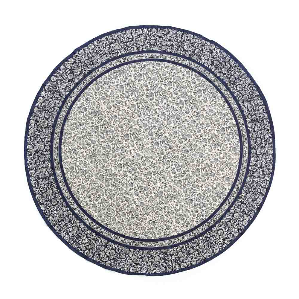 Navy Wildflower Round Tablecloth