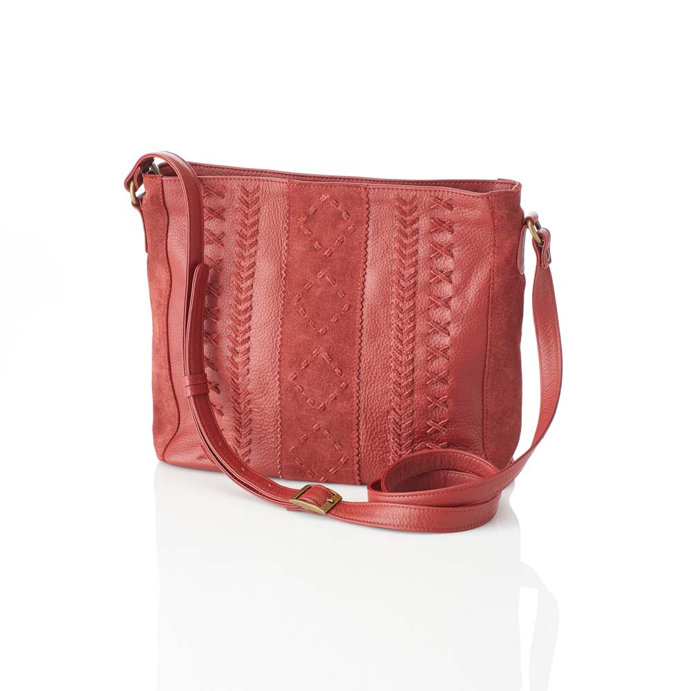 Braided Ruby Red Crossbody Bag