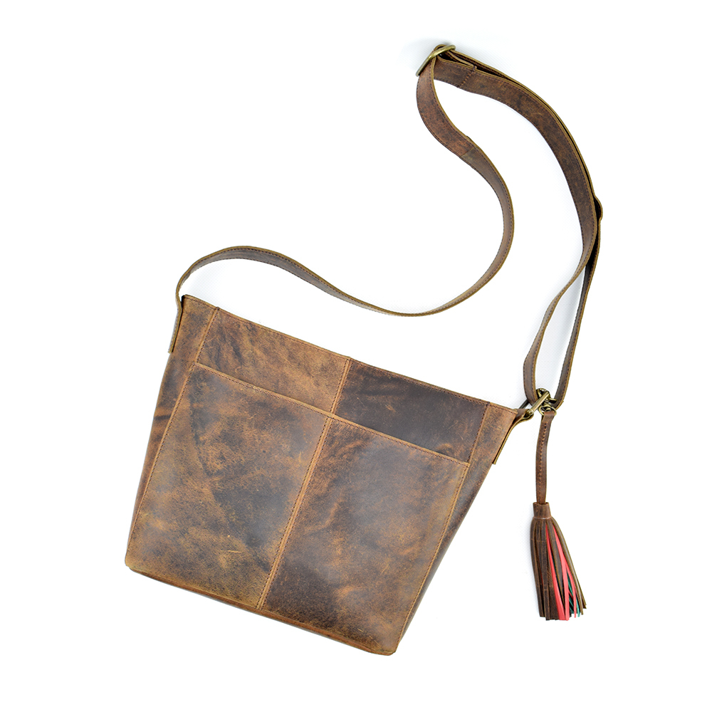 Rustic Leather Crossbody Bag