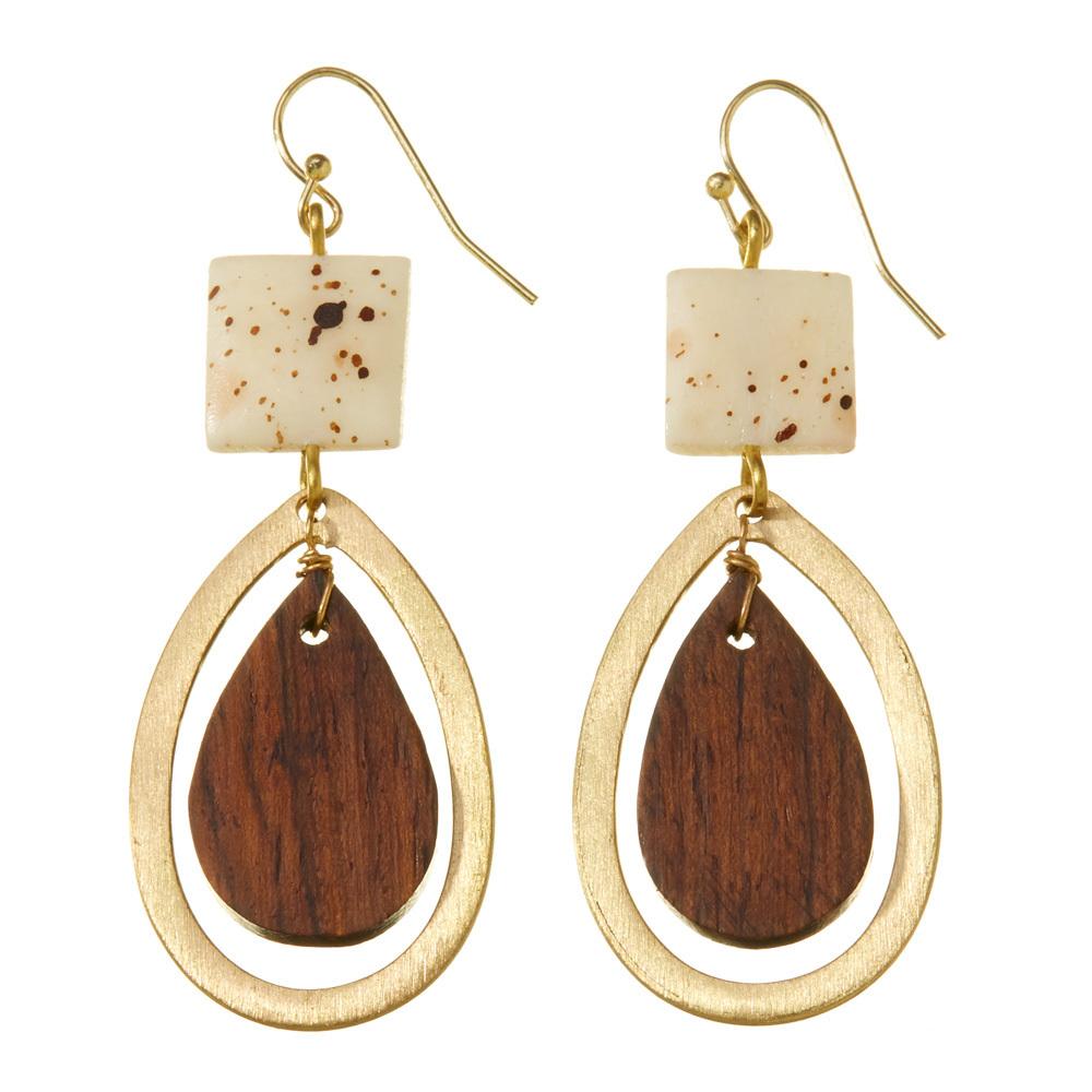 Hollow Brass Teardrop Earrings