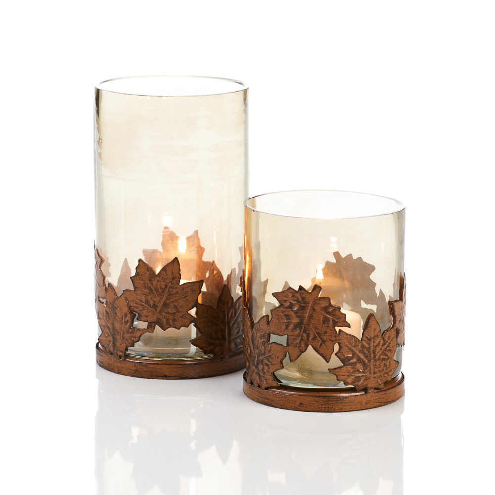 Rustic Maple Hurricane Lamps - Set of 2