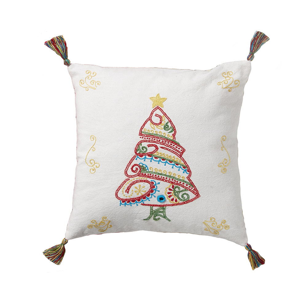 Embroidered Christmas Tree Pillow
