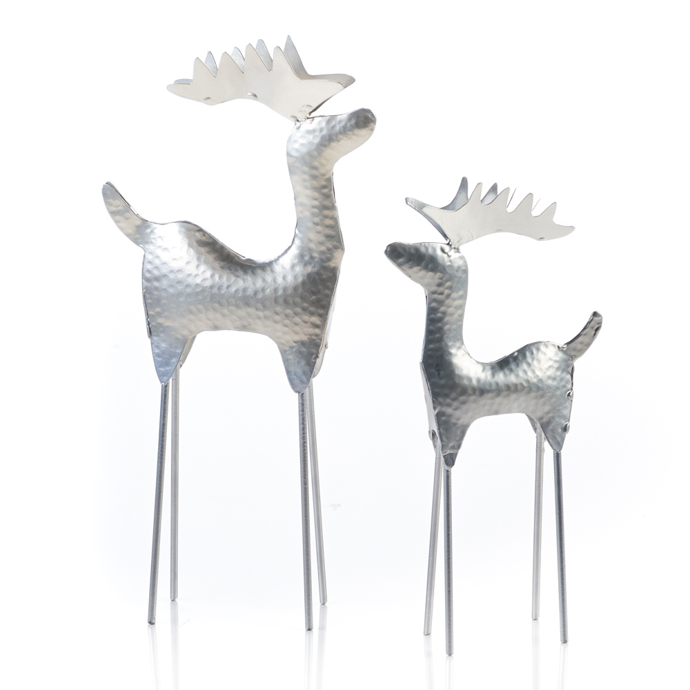 Hammered Silver Reindeer - Set of 2