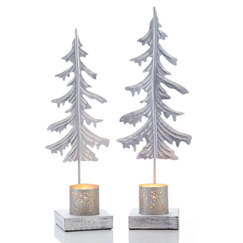 Silver Pine Candle Stands- Set of 2
