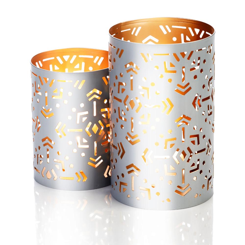 Silver Geo Snowflake Lanterns - Set of 2
