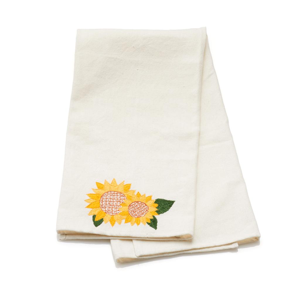 Embroidered Sunflower Tea Towel
