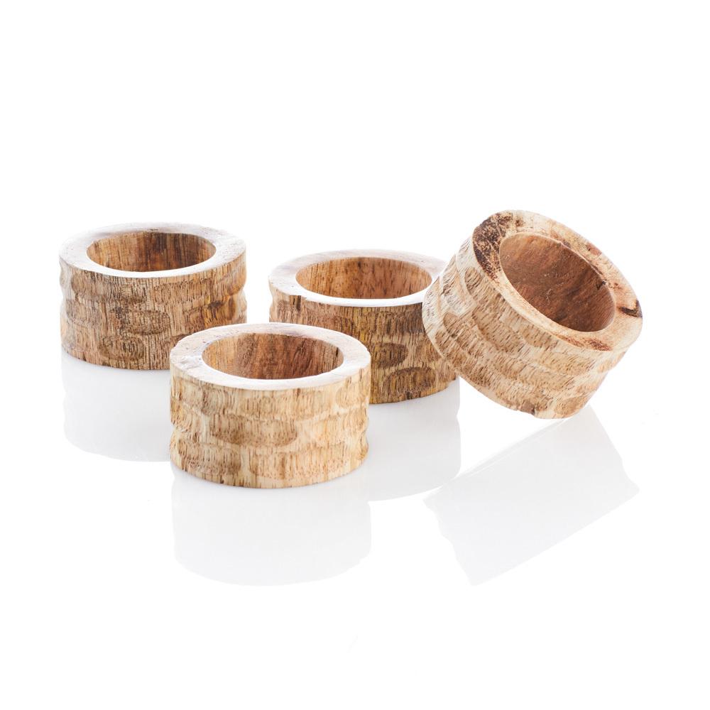 Mango Wood Napkin Rings - Set of 4