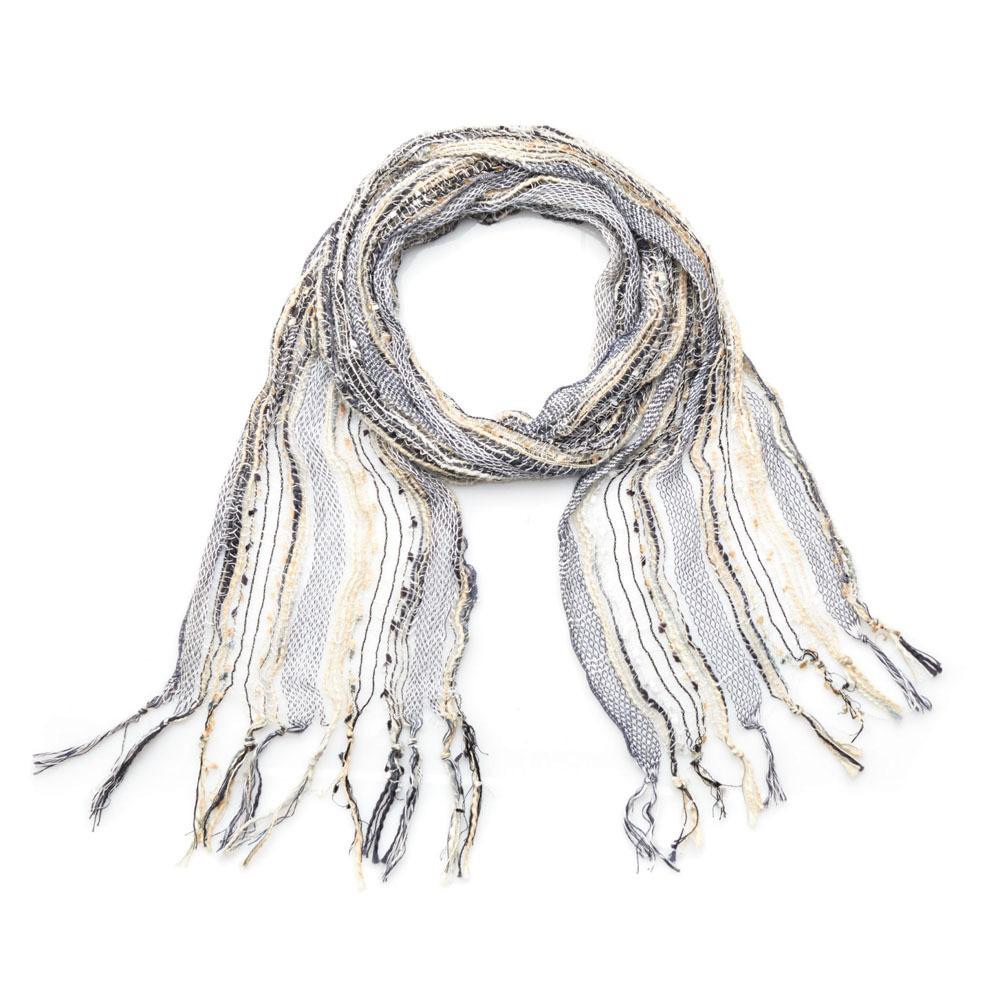 Glacial Blue Woven Scarf Necklace