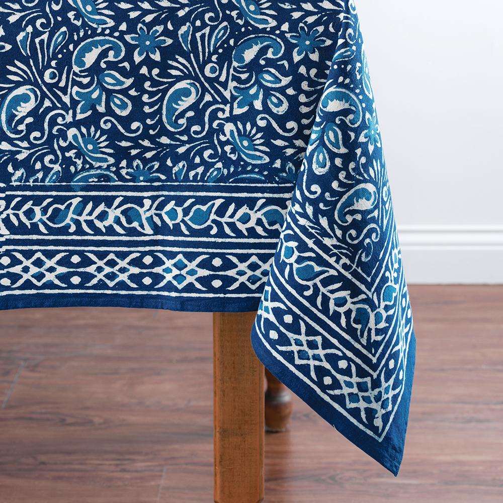 Floral Paisley Dabu Tablecloth