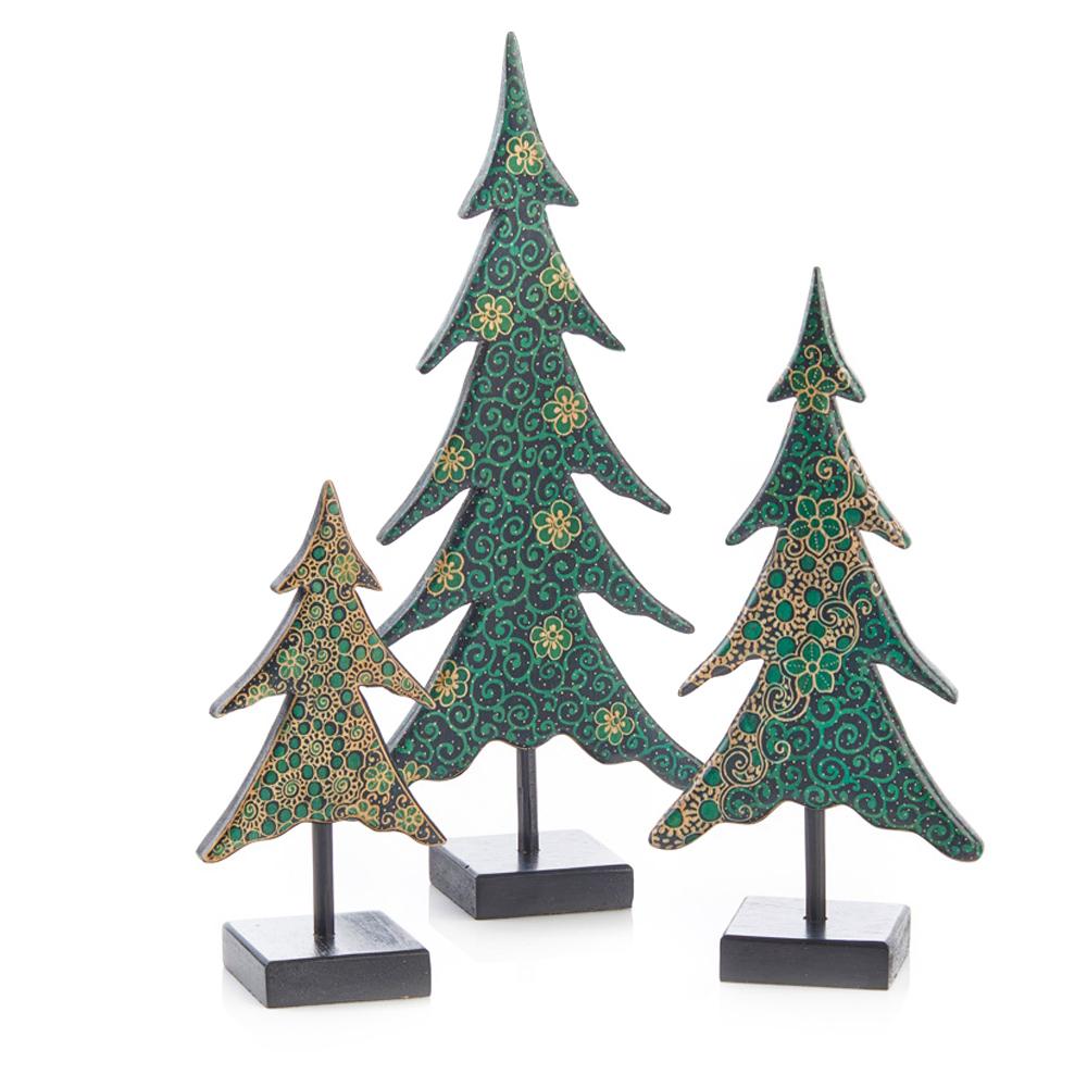 Batik Holiday Trees - Set of 3