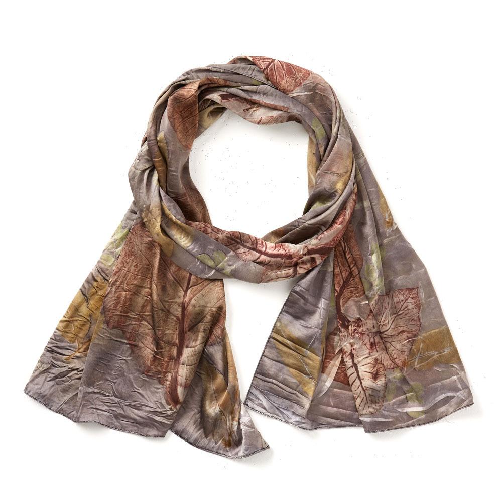 Storm Pressed Leaf Silk Scarf