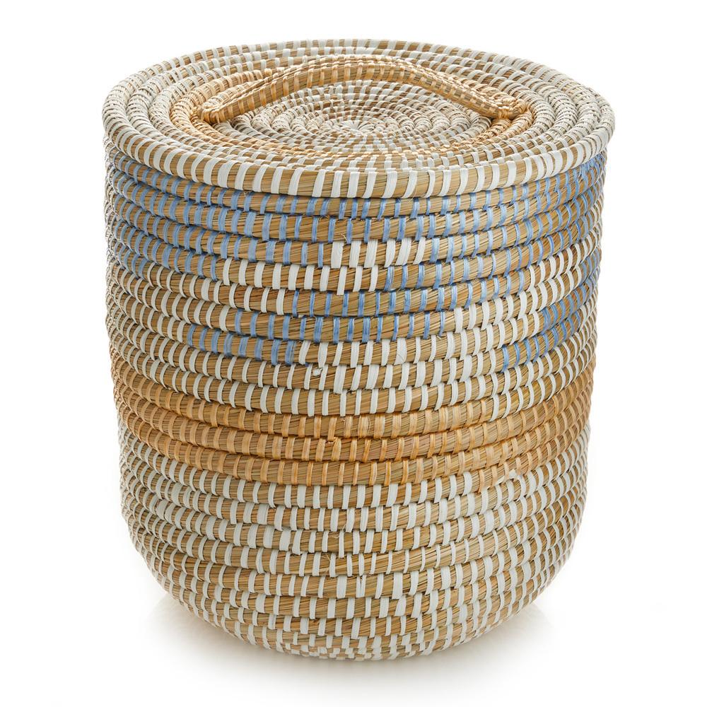 Tall Lidded Seashore Baskets