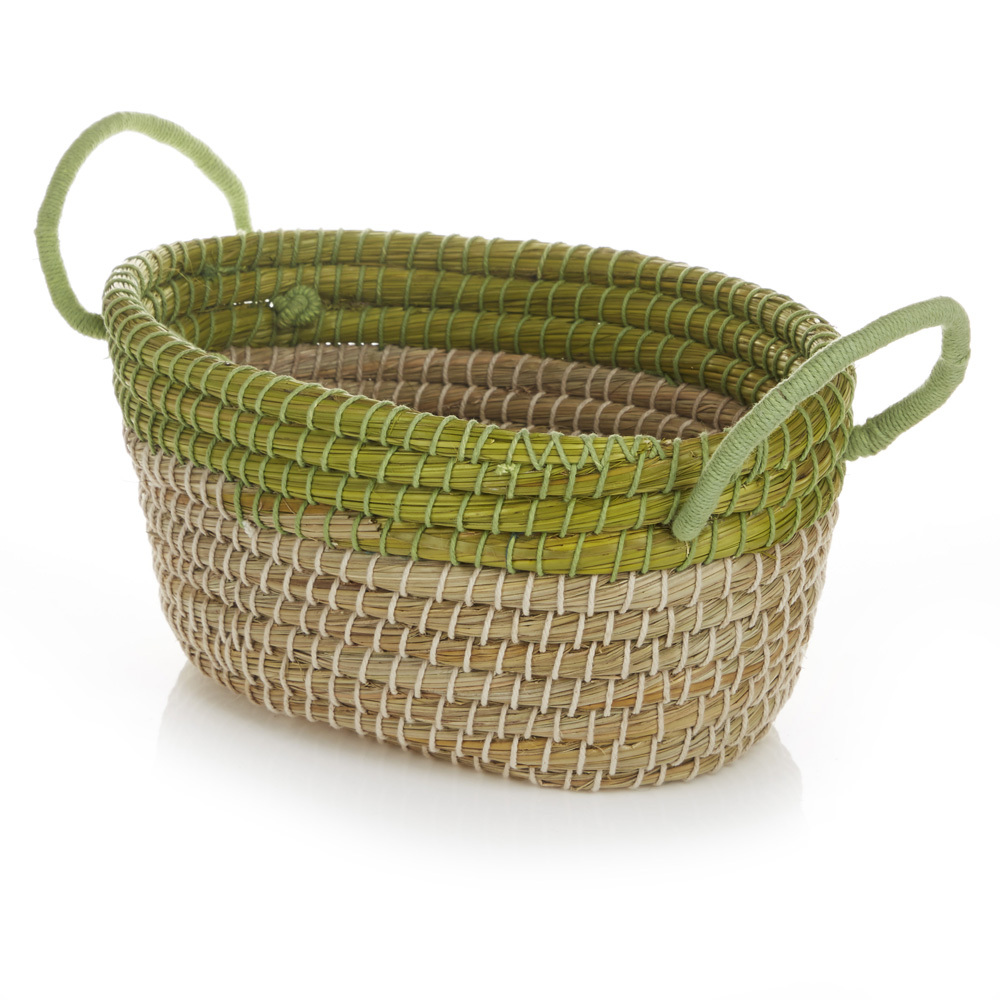 Oval Seagrass Basket - Small Lime