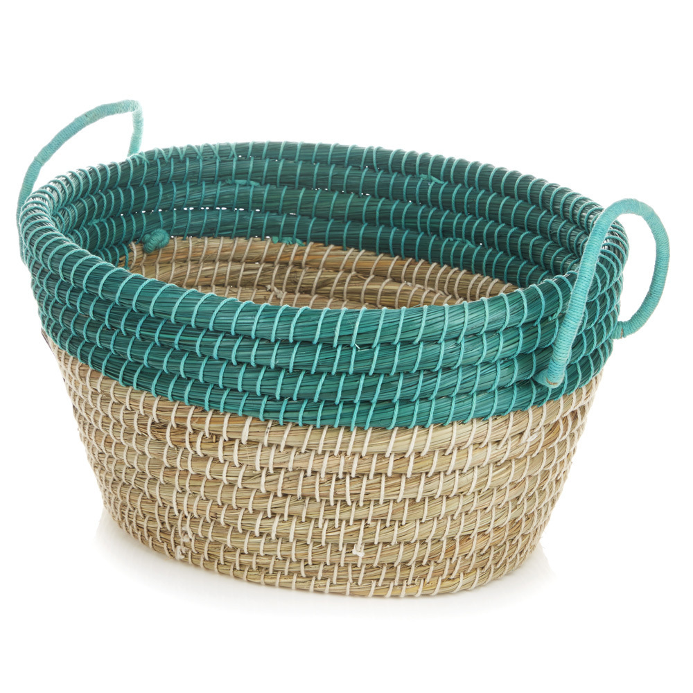 Oval Seagrass Basket - Medium Sea Green