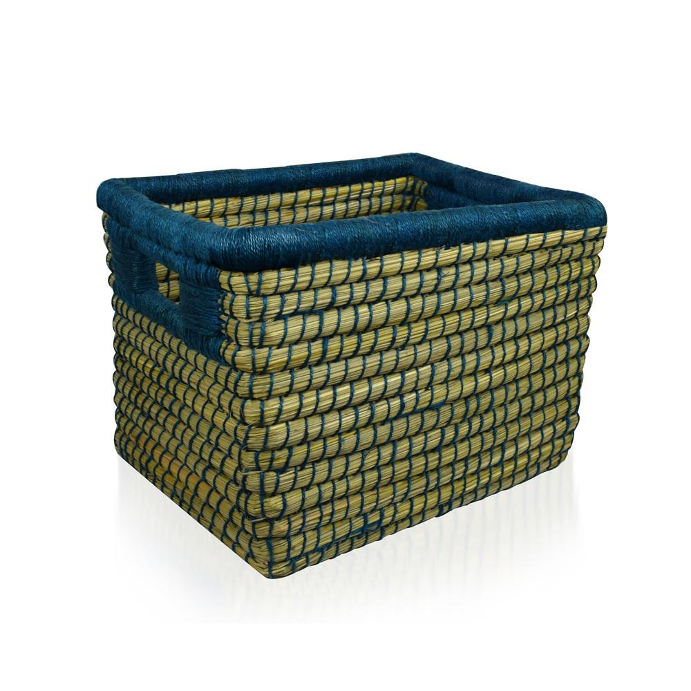 Dark Teal Threaded Basket - Medium