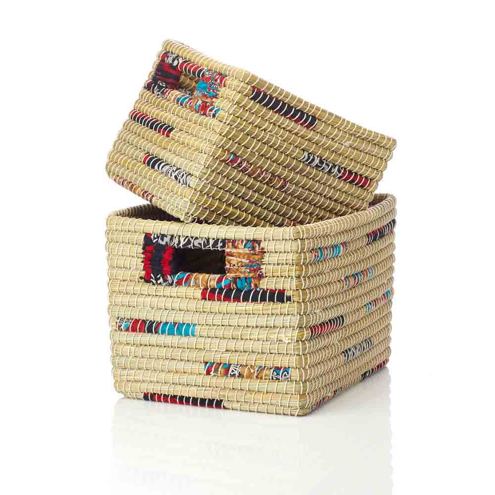 Chindi Stripe Nesting Baskets  (XL) Set of 2