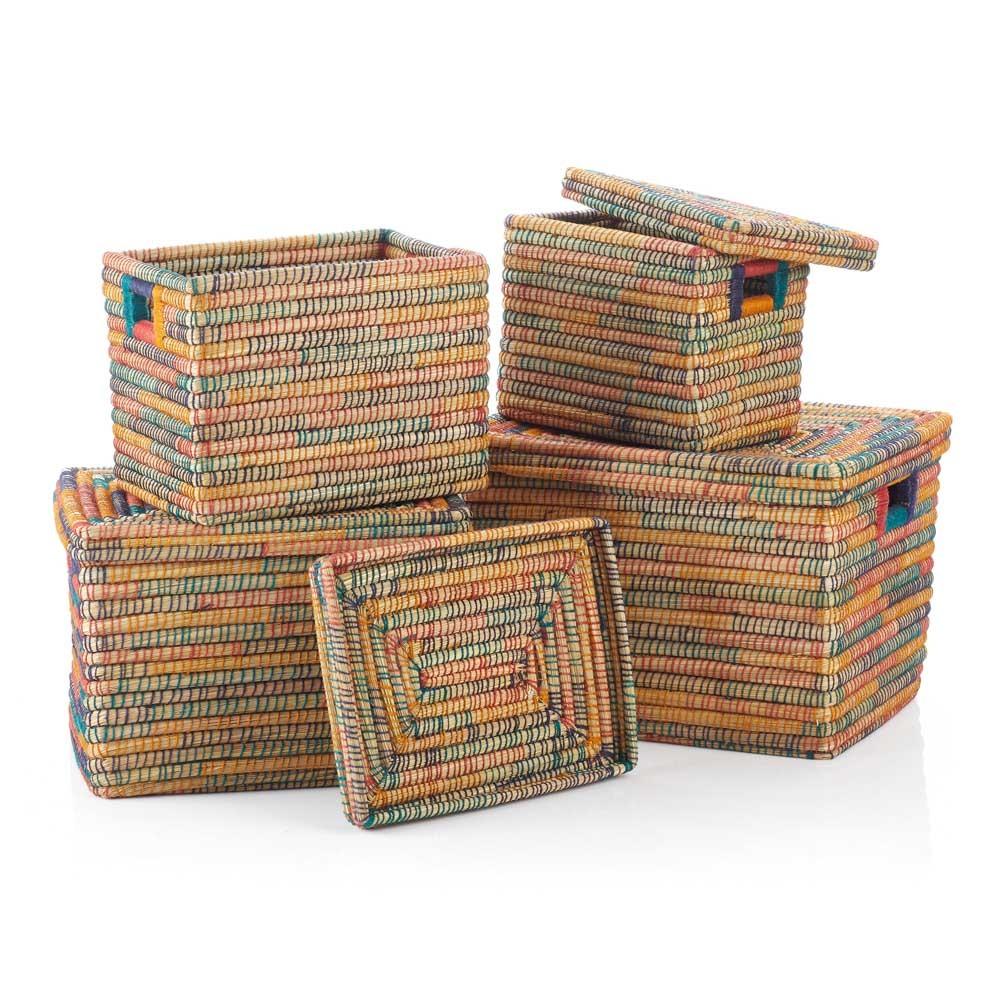 Rainbow Rectangle Jute-Wrapped Baskets (XL) - Set of 4