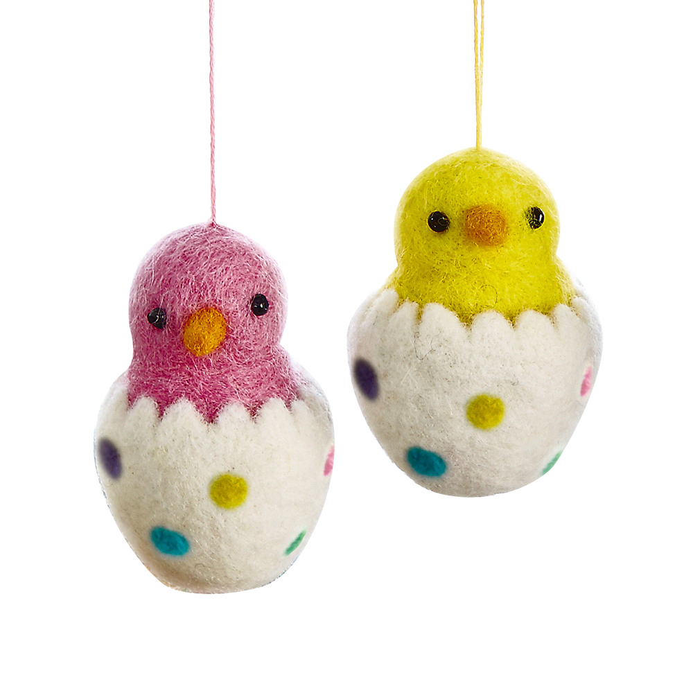 Felted Chick Ornaments