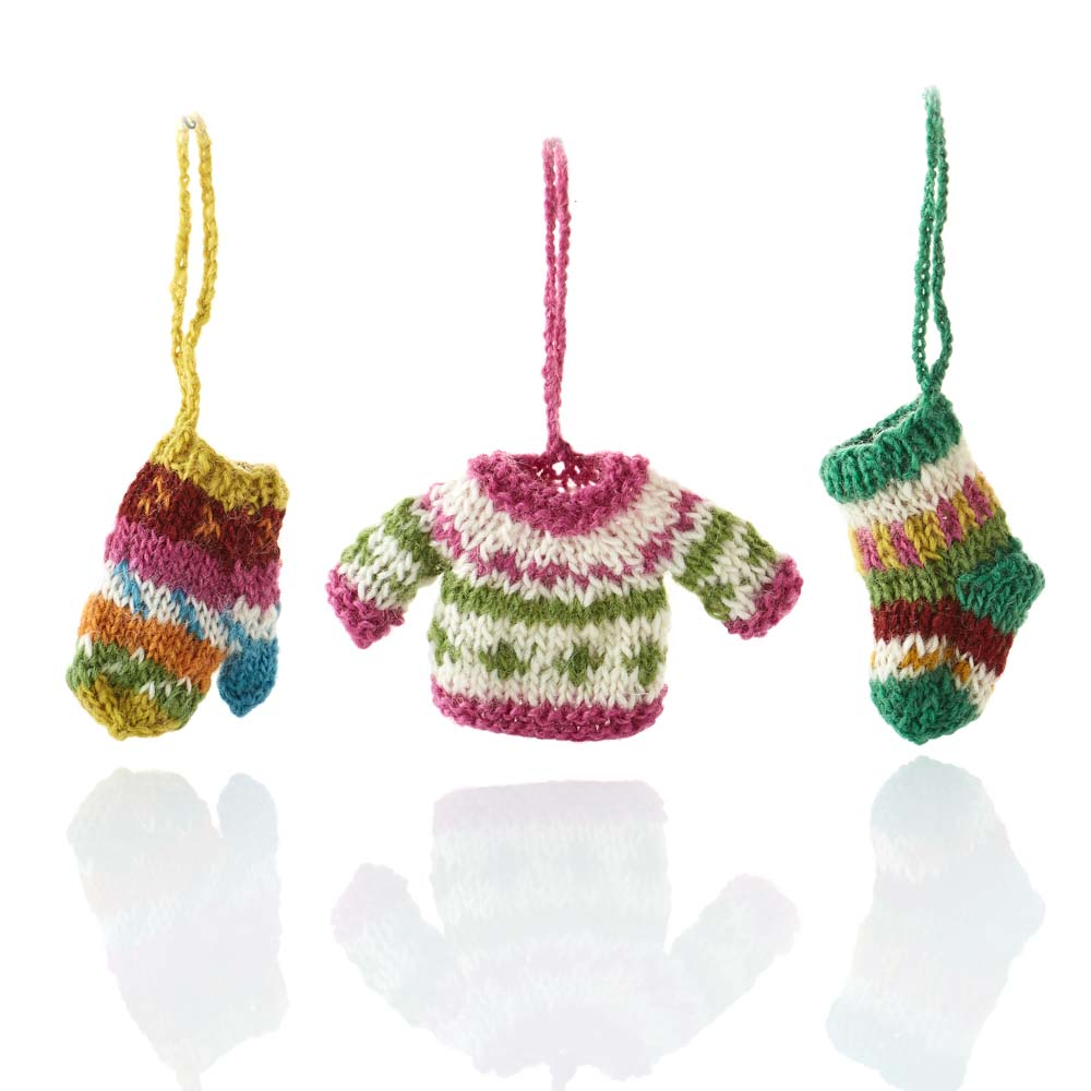 All Bundled Up Knit Ornament Set