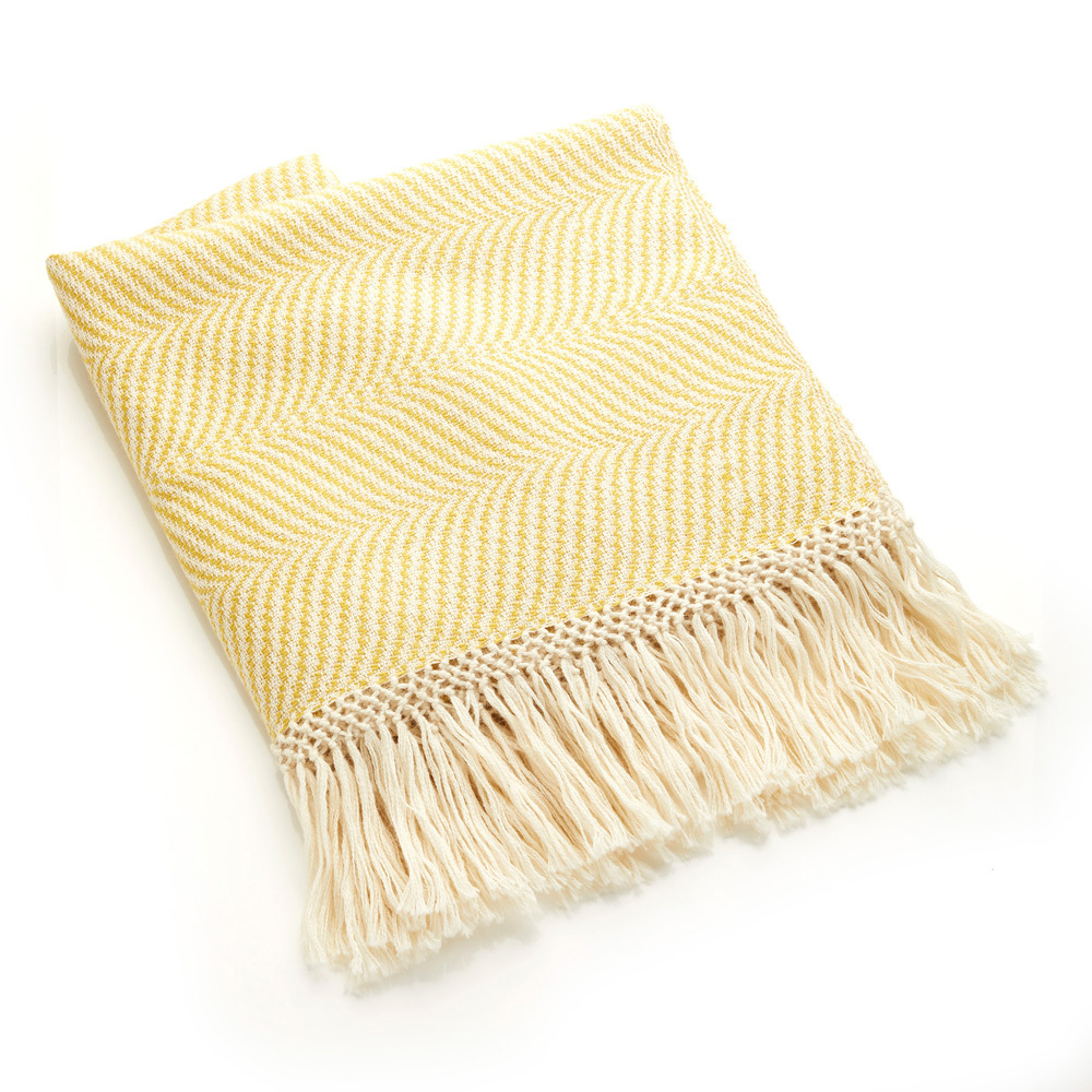 Gold Herringbone Alpaca Throw