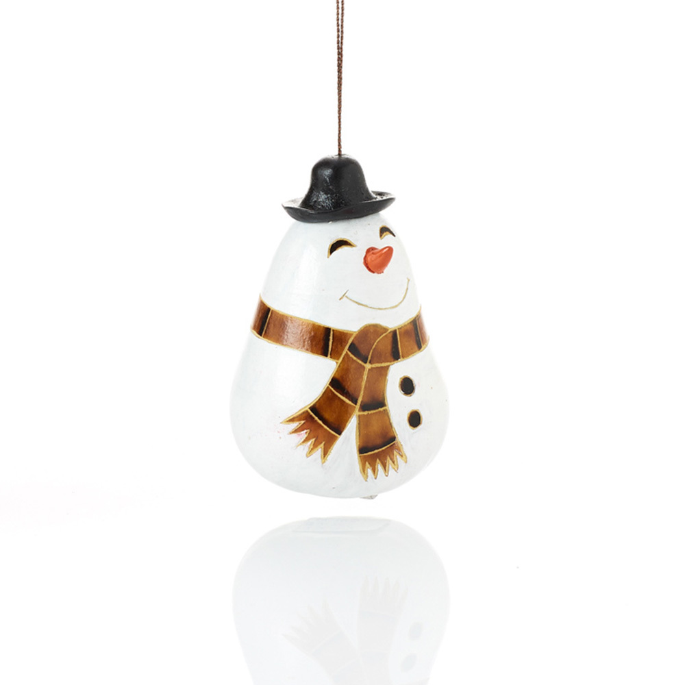 Happy Snowman Gourd Ornament