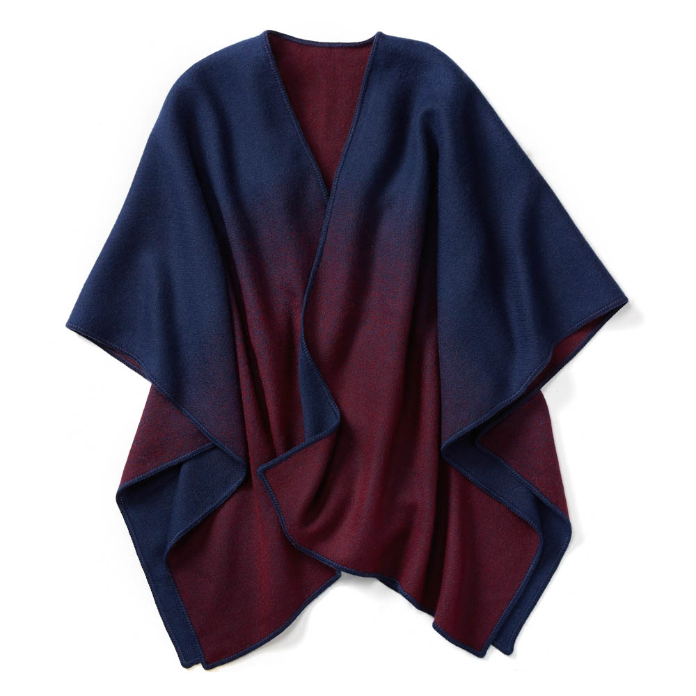 Burgundy and Blue Ombre Poncho