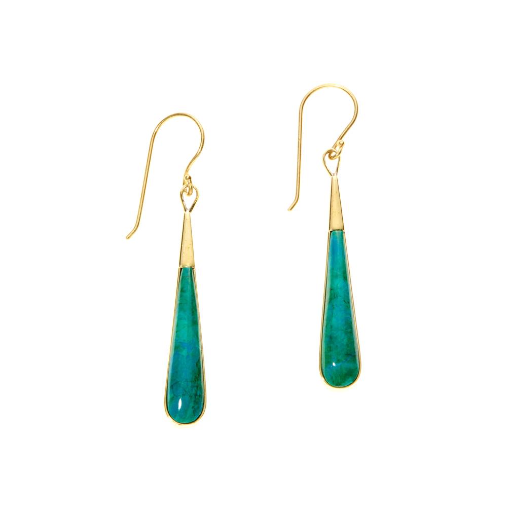 Chrysocolla Long Drop Earrings