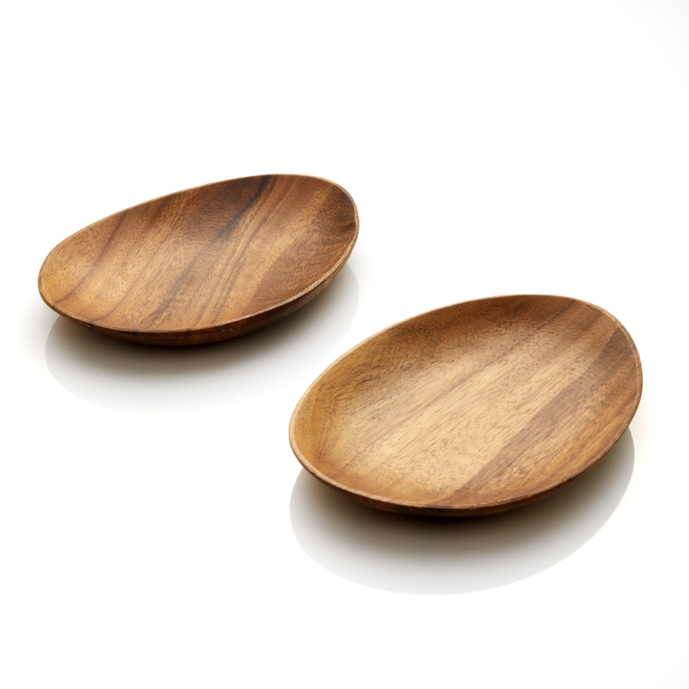 Acacia Wood Oblong Plate Set