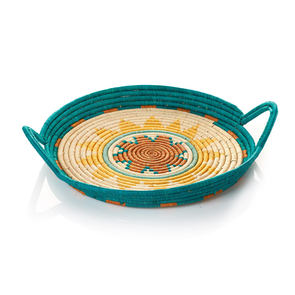 Turaco Feather Teal Tray