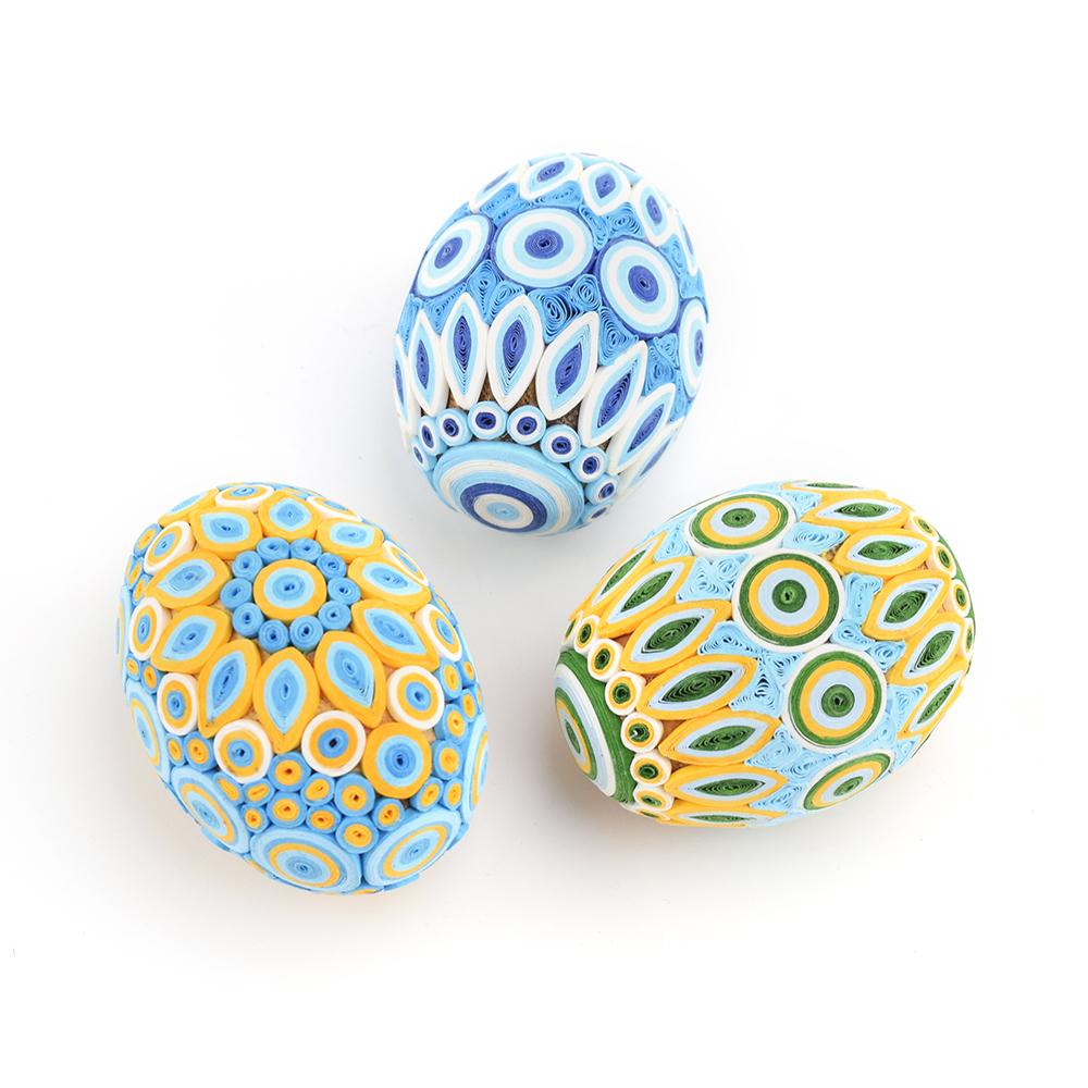Blue & Gold Quilled Egg Set