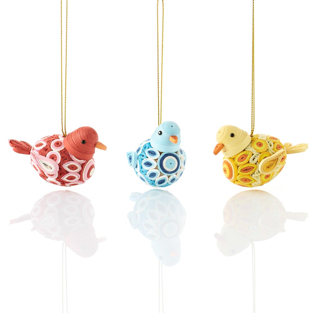 Quilled Round Bird Ornament Set