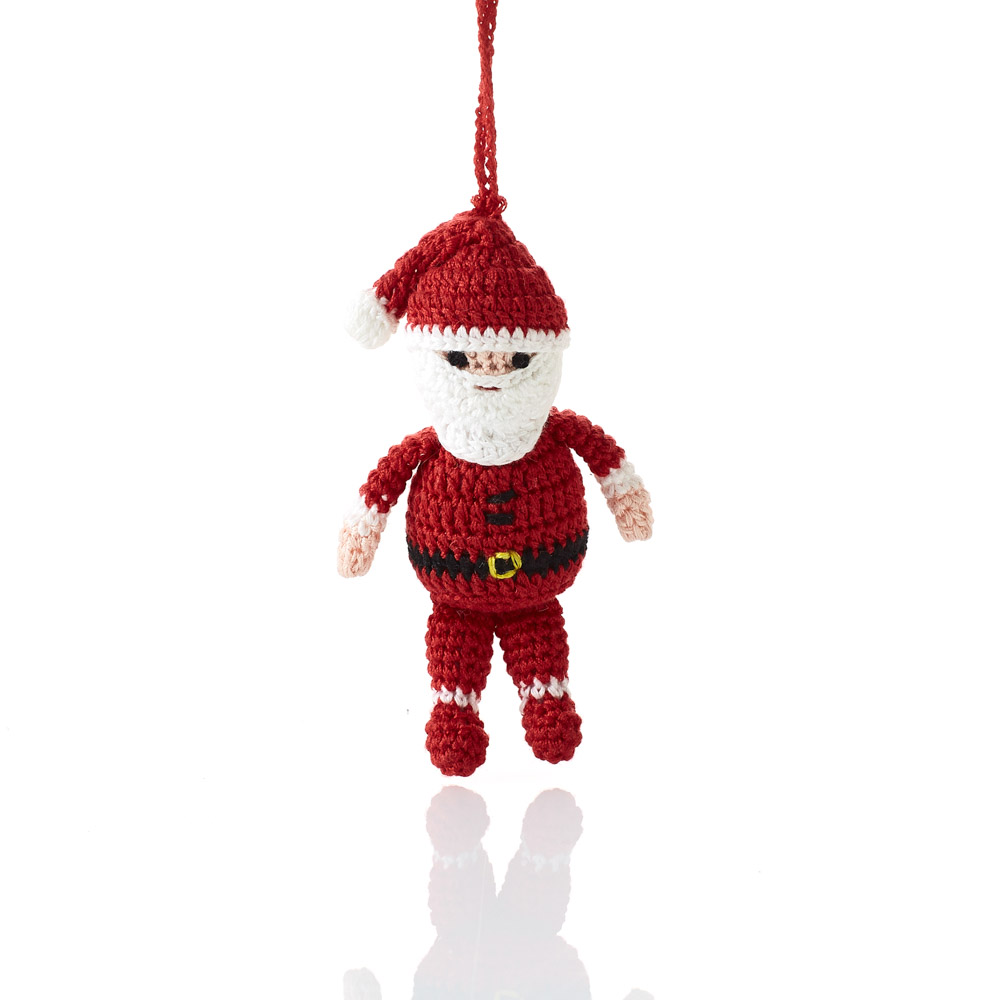 Crocheted Jolly Santa Ornament