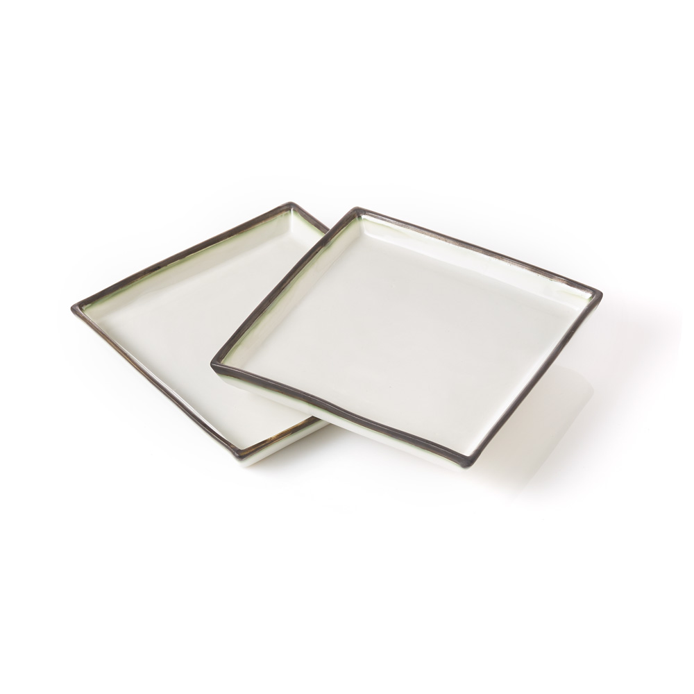 Modern Line Square Plates - Set of 2