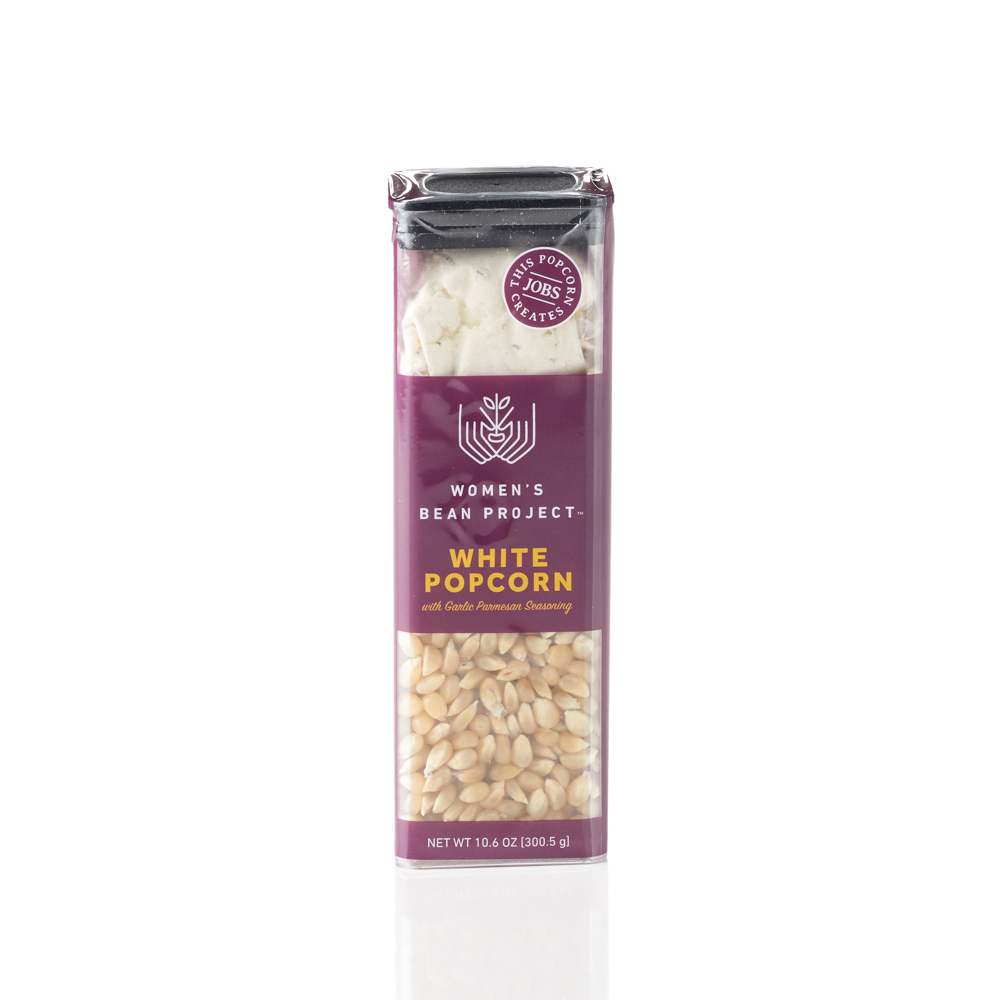 White Popcorn with Garlic Parmesan Seasoning