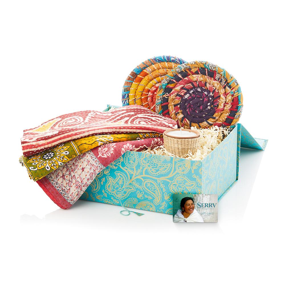 Colorful Kantha Gift Basket