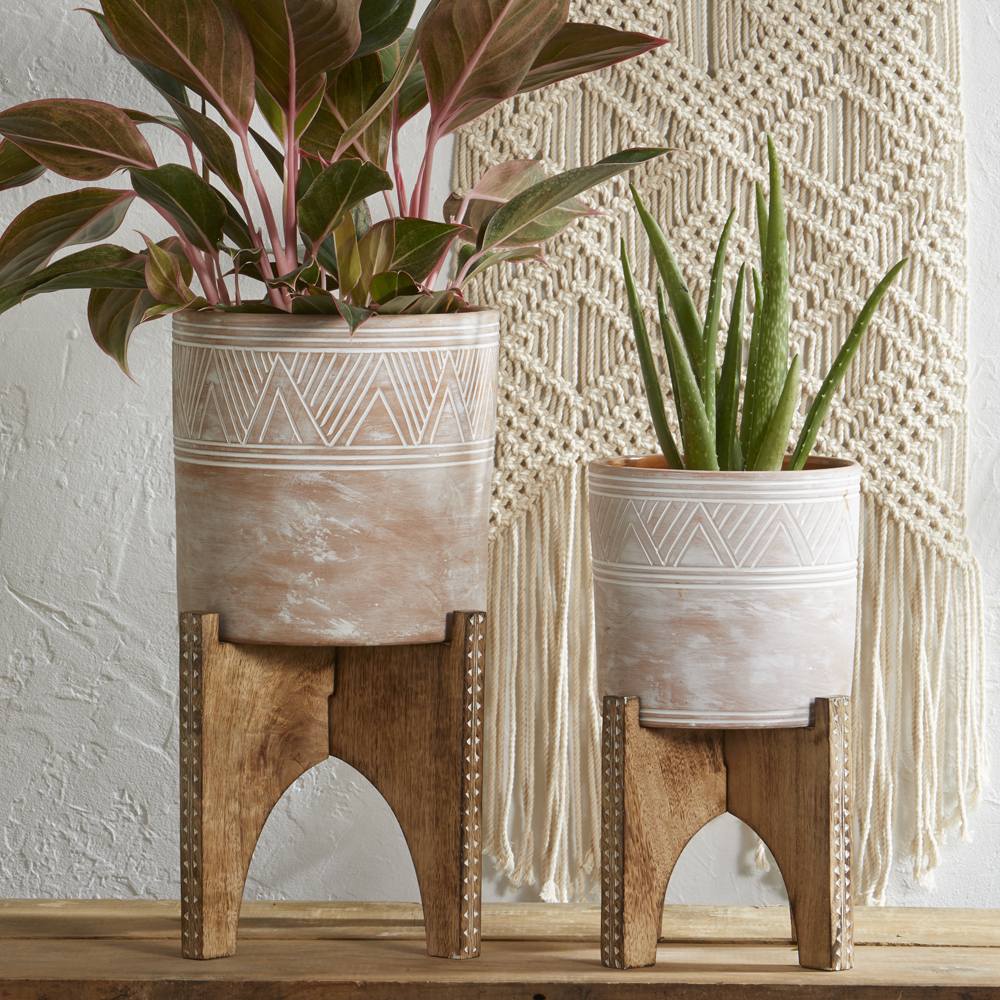 Etched Cylinder Planter & Small Stand