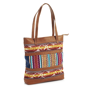 Leather Tapestry Tote