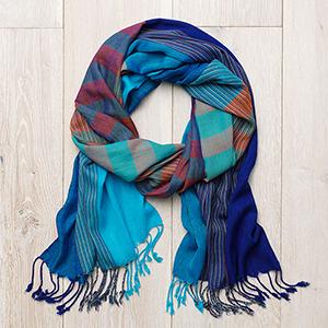 Mediterranean Stripe Scarf - Blue & Coral