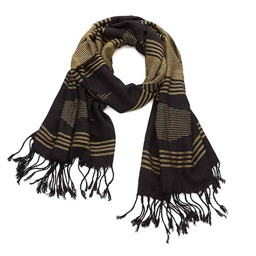 Alexandria Scarf - Black & Gold Stripe