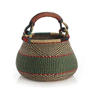 Large Blue & Green Handled Bolga Basket