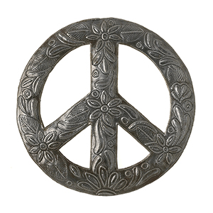 Metal Peace Wreath Wall Art