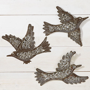 Set of 3 Lattice Birds Wall Art