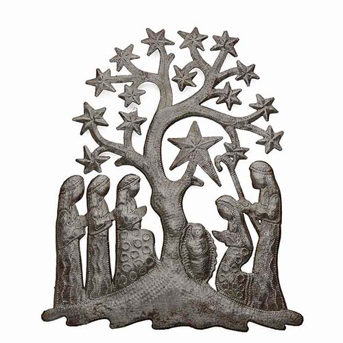 Recycled Metal Wall Nativity