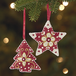 Tree & Felt Star Ornament Set