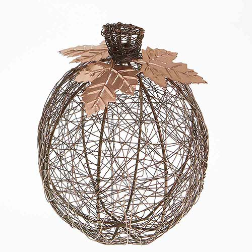 Copper Tall Wire-Wrapped Pumpkin