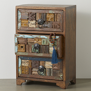 Wood Block Tabletop Chest