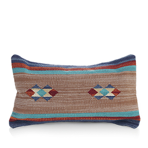 Kilim Lumbar Pillow - Orange & Blue