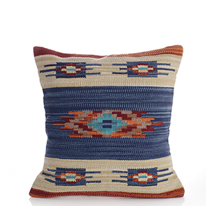 Kilim Square Pillow - Orange & Blue