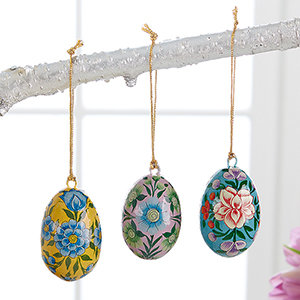 Petite Floral Egg Ornaments