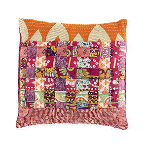 Warm Tones Kantha Basketweave Pillow
